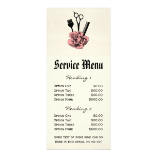 chic salon service menu mod pinkrose scissors hair