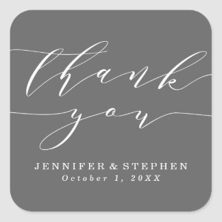 Chic Script   Wedding Thank You Square Sticker