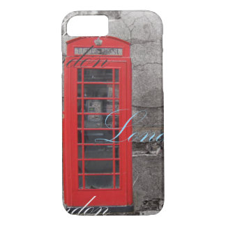 Chic scripts London Landmark Red Telephone Booth iPhone 7 Case