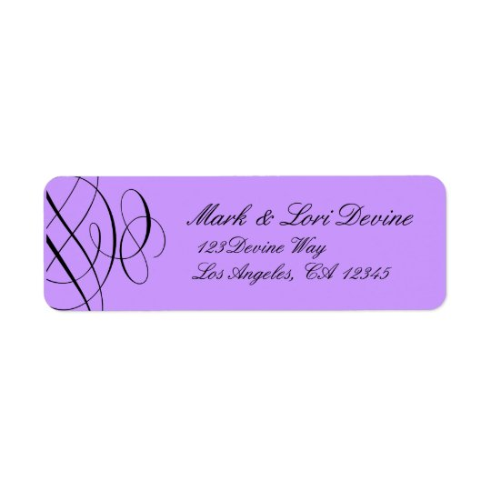 Chic scroll designer labels with purple