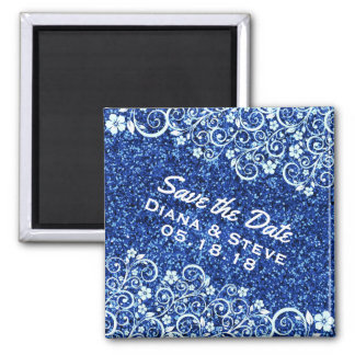 Chic Scrolls Blue Glitter Wedding | Save the Date Square Magnet