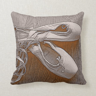 Chic Sepia Pastel Pink Ballet Shoes Throw Pillow