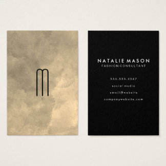 Chic Sepia Watercolor Monogram Business Card
