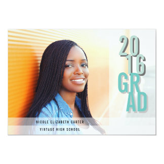 Chic Shadows Aqua | Photo Graduation Party Card