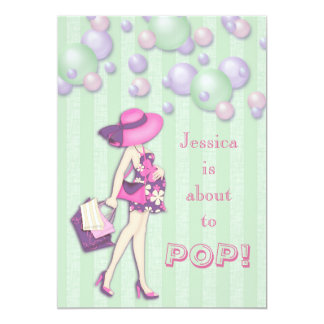 Chic She's About to Pop Girl Baby Shower Card