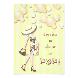 Chic She's About to Pop Neutral Baby Shower 5x7 Paper Invitation Card