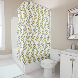 CHIC SHOWER CURTAIN_33 BUTTER/WHITE FLORAL VINES