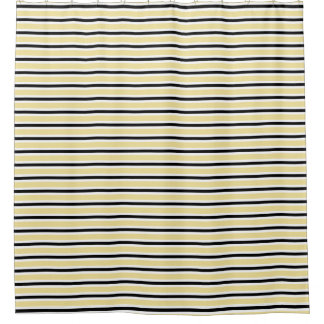 CHIC SHOWER CURTAIN_9 BUTTER/BLACK/WHITE STRIPES