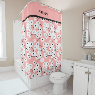CHIC SHOWER CURTAIN_MOD WHITE &  BLACK POPPIES