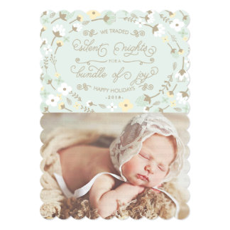 Chic Silent Night First Christmas Photo Card