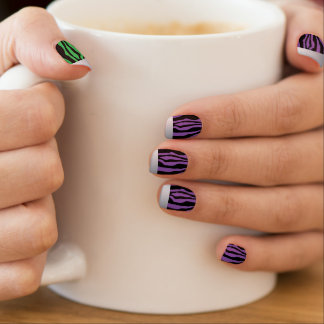 Chic Silve Tipped Green & Purple Zebra Print Nails Minx Nail Art