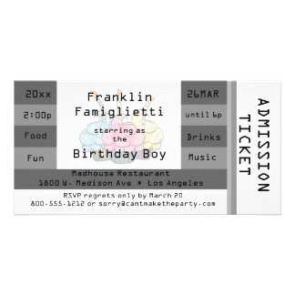 Chic Silver Admission Ticket Birthday Invite Photo Card Template