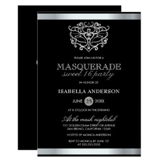 Chic Silver & Black Typography Masquerade Sweet 16 Card