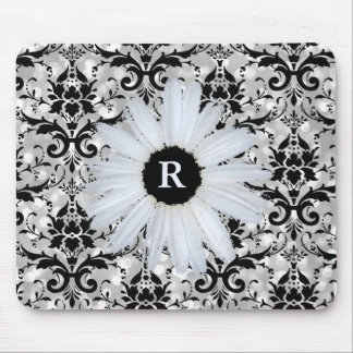 Chic Silver Bokeh Black Damask   Monogrammed Daisy Mouse Pad