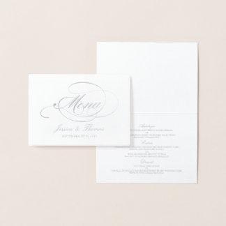 Chic Silver Foil & White Wedding Menu Template