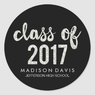 Chic Silver Glitter   Class of 2017 Graduation Classic Round Sticker