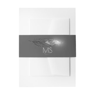 Chic Silver Glitter Dipped Feathers Wedding Invitation Belly Band