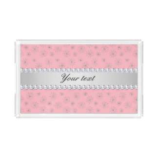 Chic Silver Glitter Snowflakes Pink Acrylic Tray