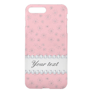 Chic Silver Glitter Snowflakes Pink iPhone 8 Plus/7 Plus Case