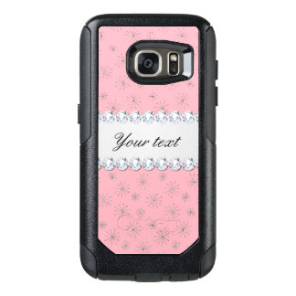 Chic Silver Glitter Snowflakes Pink OtterBox Samsung Galaxy S7 Case