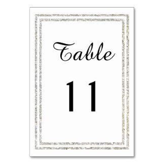 Chic Silver Glittered Trim - Table Card