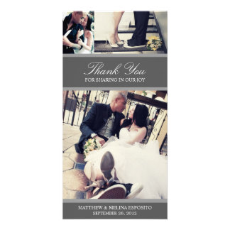 CHIC SILVER GRATITUDE | WEDDING THANK YOU CARD PHOTO GREETING CARD