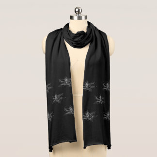 Chic Silver Grey Lily Floral Pattern Scarf