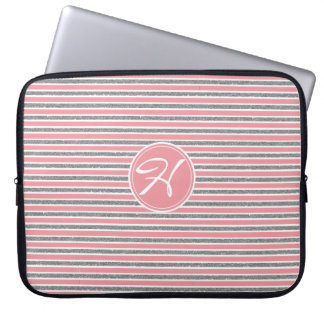 CHIC SILVER PINK FAUX MONOGRAMME LAPTOP SLEEVE