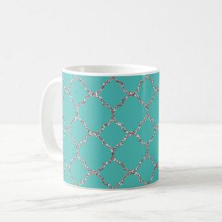 Chic Silver Quatrefoil Teal White Coffee Mug