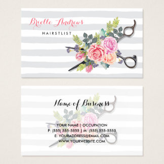 Chic Silver Scissors Hairstylist Stripes and Roses Business Card