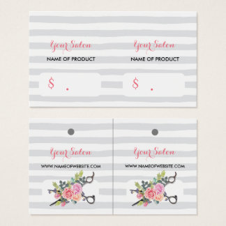 Chic Silver Scissors Stripes and Roses Hang Tags
