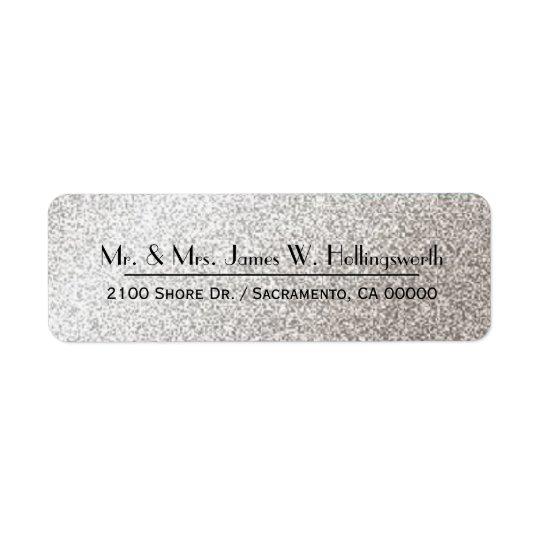 Chic Silver Sparkle Custom Return Address