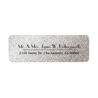 Chic Silver Sparkle Custom Return Address Return Address Label