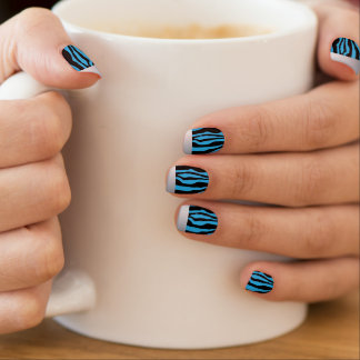 Chic Silver Tipped Blue Zebra Print Nails Minx Nail Art