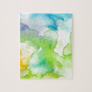 Chic Simple Beautiful Abstract Watercolor Pattern Jigsaw Puzzle