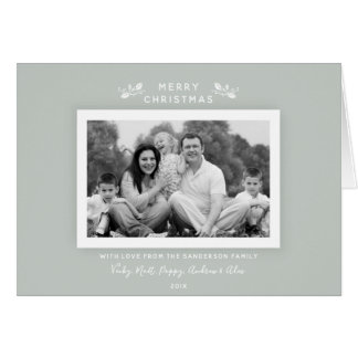 Chic Simple Classic Gray Green Holiday Photo Card