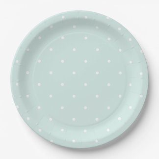 Chic Sky Blue and White Polka Dots 9 Inch Paper Plate