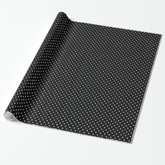 Chic Small White Polka dots black background Wrapping Paper