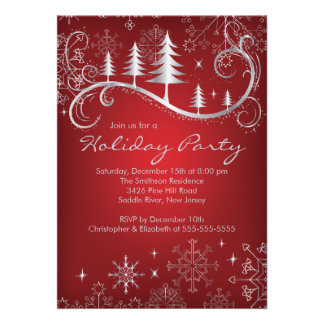 Chic Snowflakes Christmas Trees Holiday Party Custom Announcement