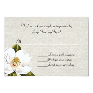 Chic Southern Magnolias Wedding RSVP Response Card