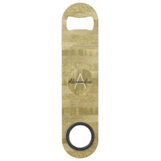Chic Sparkle Gold Stripes Monogram Speed Bottle Opener