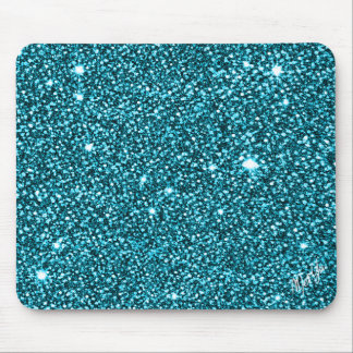Chic Sparkly Peacock Blue Glitter Mouse Pad