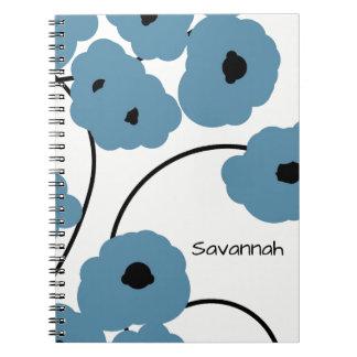 CHIC SPIRAL NOTEBOOK_MOD BLUE & BLACK POPPIES NOTEBOOK