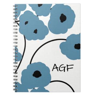 CHIC SPIRAL NOTEBOOK_MOD  BLUE & BLACK POPPIES NOTEBOOKS
