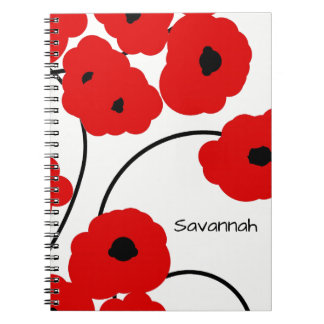 CHIC SPIRAL NOTEBOOK_MOD RED AND BLACK POPPIES NOTEBOOKS