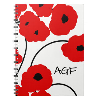 CHIC SPIRAL NOTEBOOK_MOD RED AND BLACK POPPIES SPIRAL NOTE BOOK