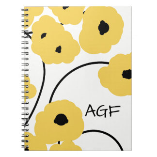 CHIC SPIRAL NOTEBOOK_MOD YELLOW AND BLACK POPPIES NOTE BOOK