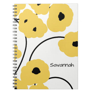 CHIC SPIRAL NOTEBOOK_MOD YELLOW AND BLACK POPPIES NOTEBOOK
