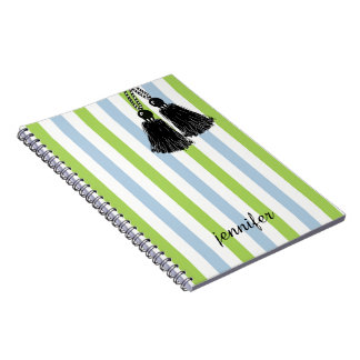 CHIC SPIRAL NOTEBOOK_TRENDY BLACK TASSELS AND NAME NOTE BOOKS