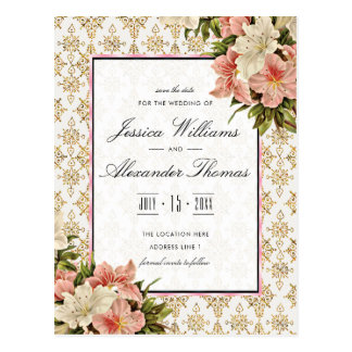 Chic Spring Bouquets & Gold Glitters Save The Date Postcard
